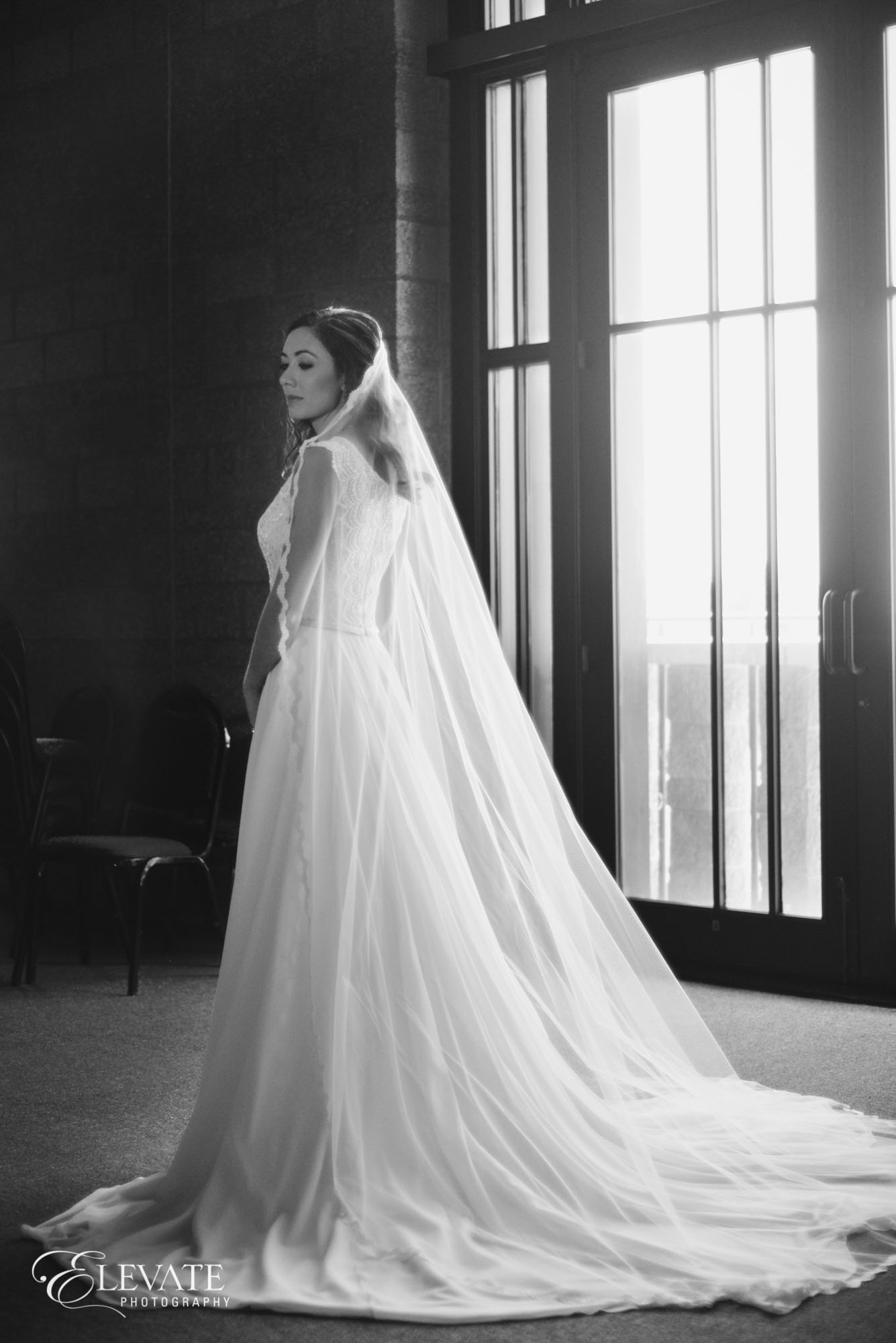 black and white stained glass bridal portrait aurora