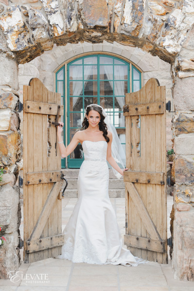 bridal portrait with gate