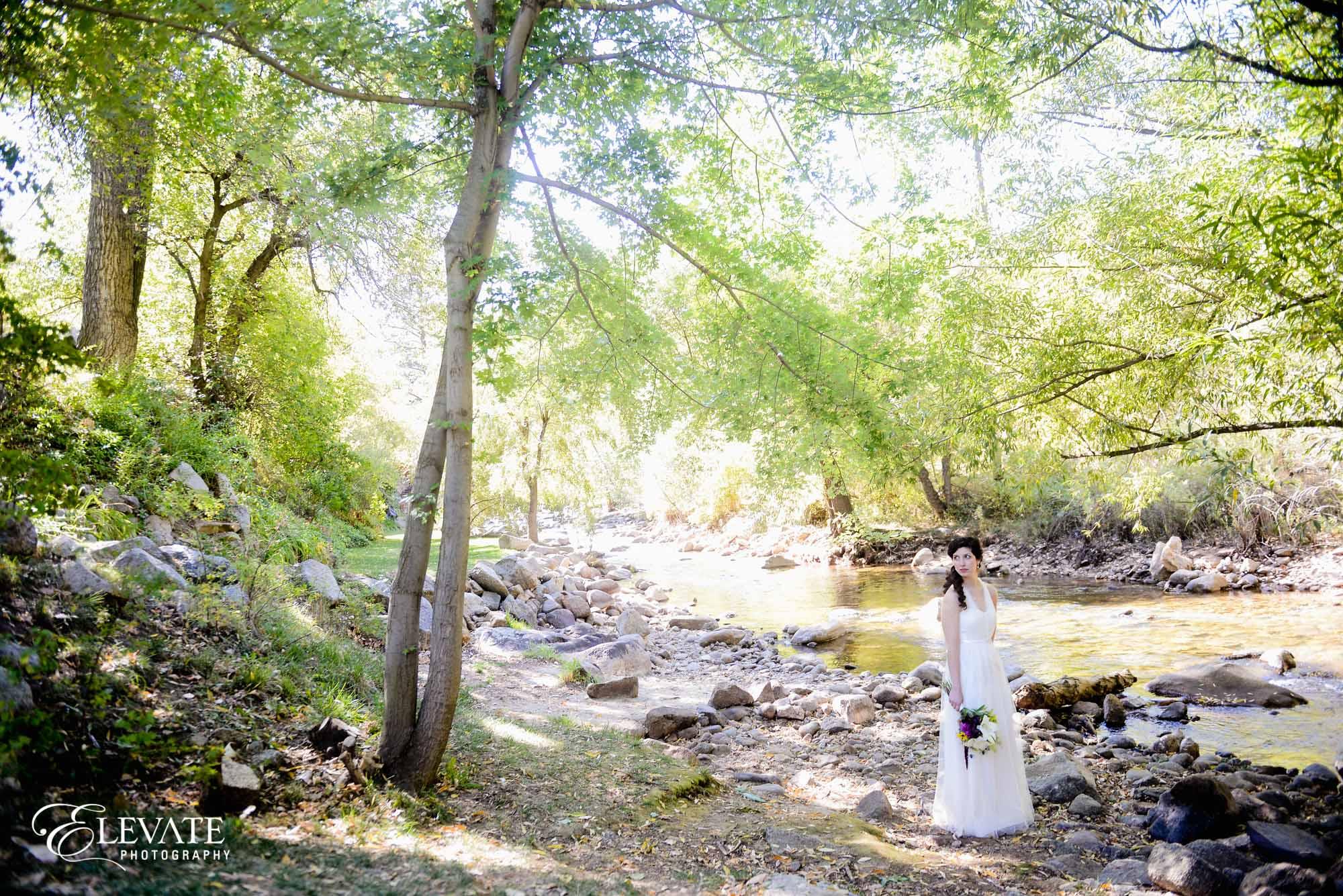 bride by river