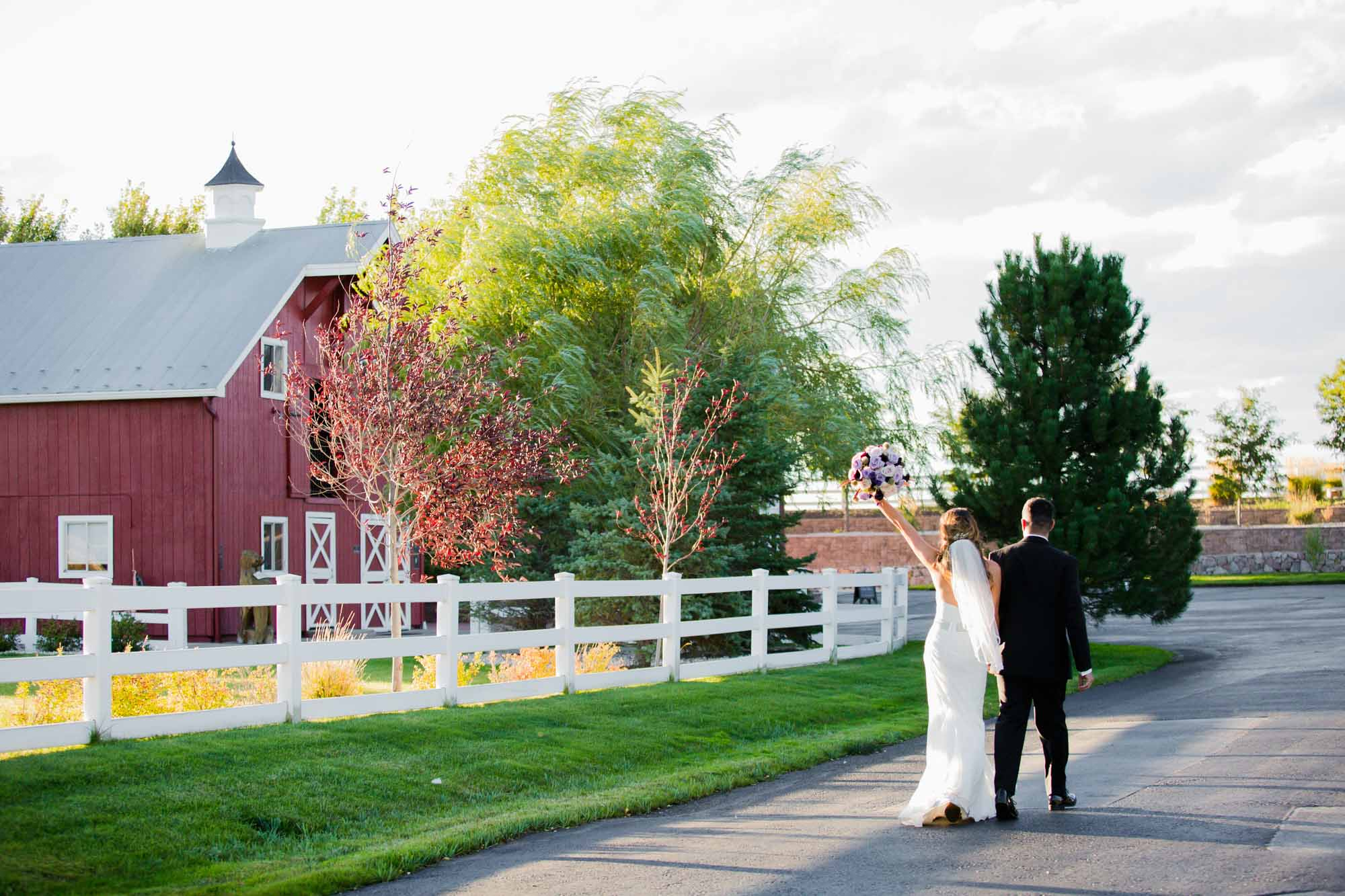 couple walking to reception