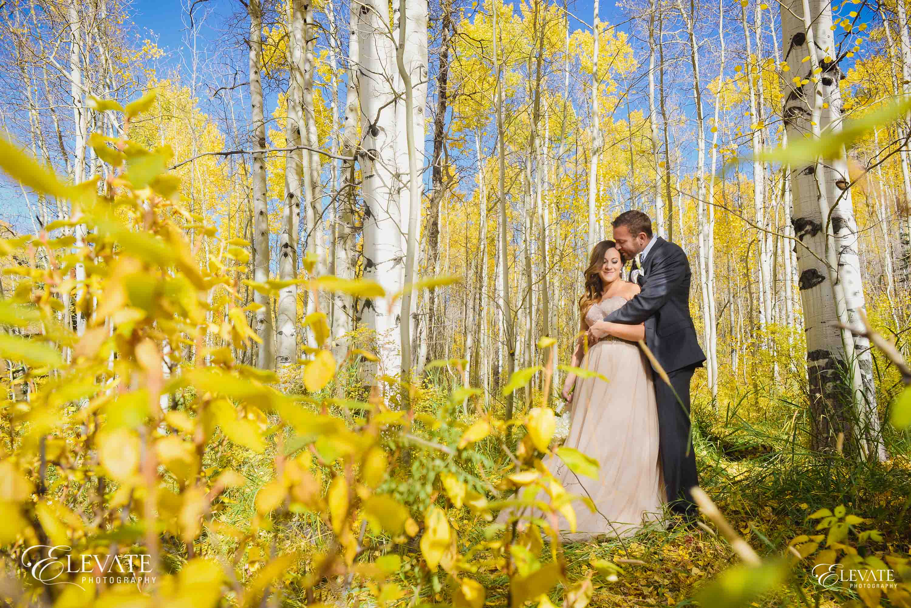 Wedding couple with fall colors