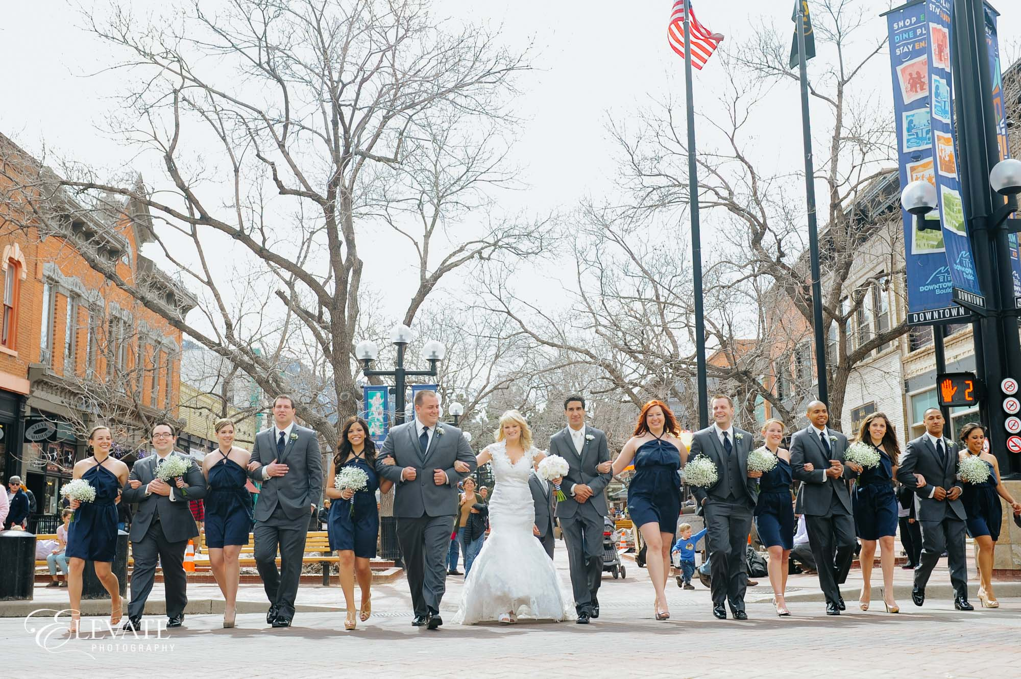 Bridal party on street