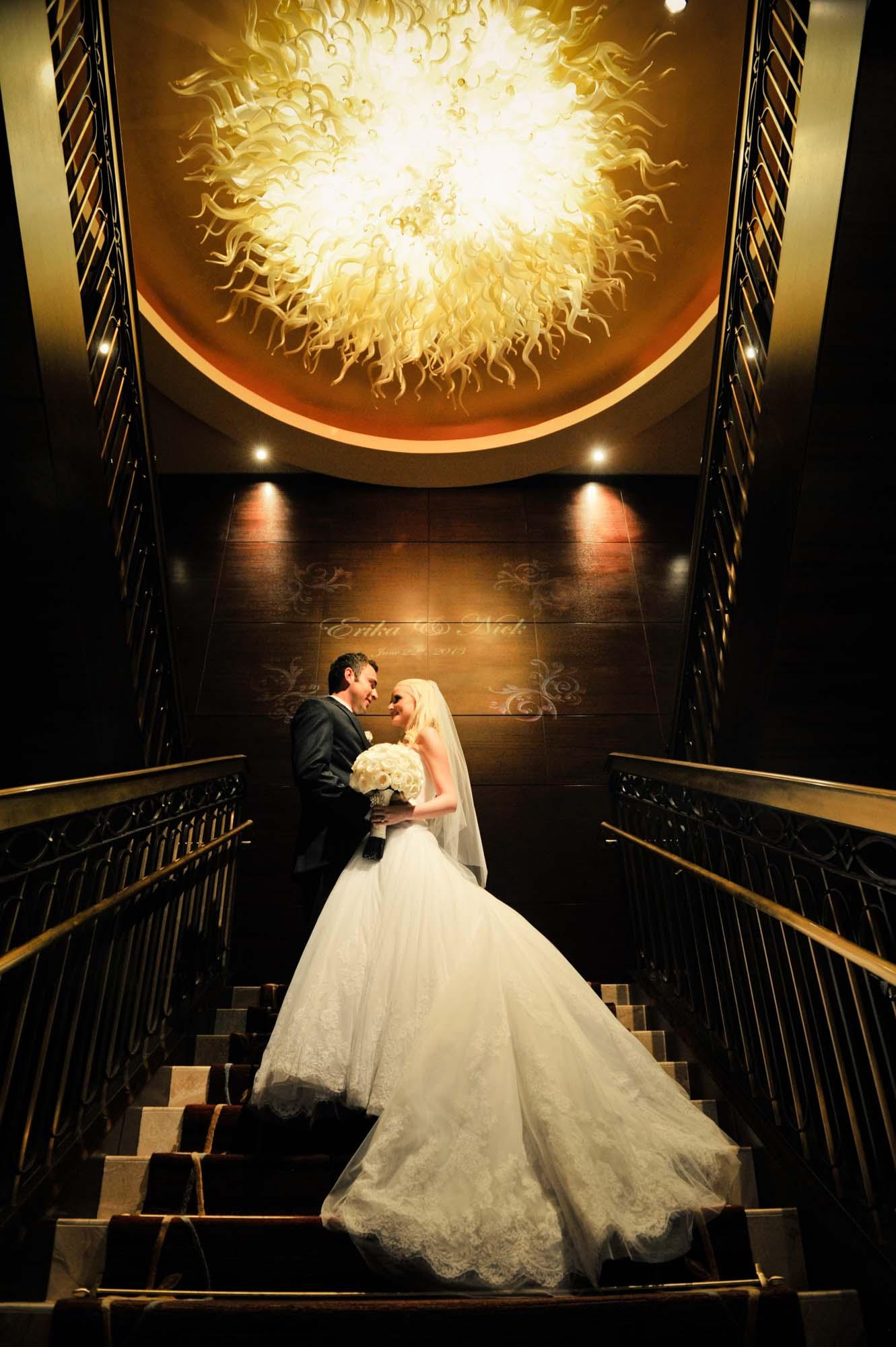 Bride and groom at Ritz Carlton