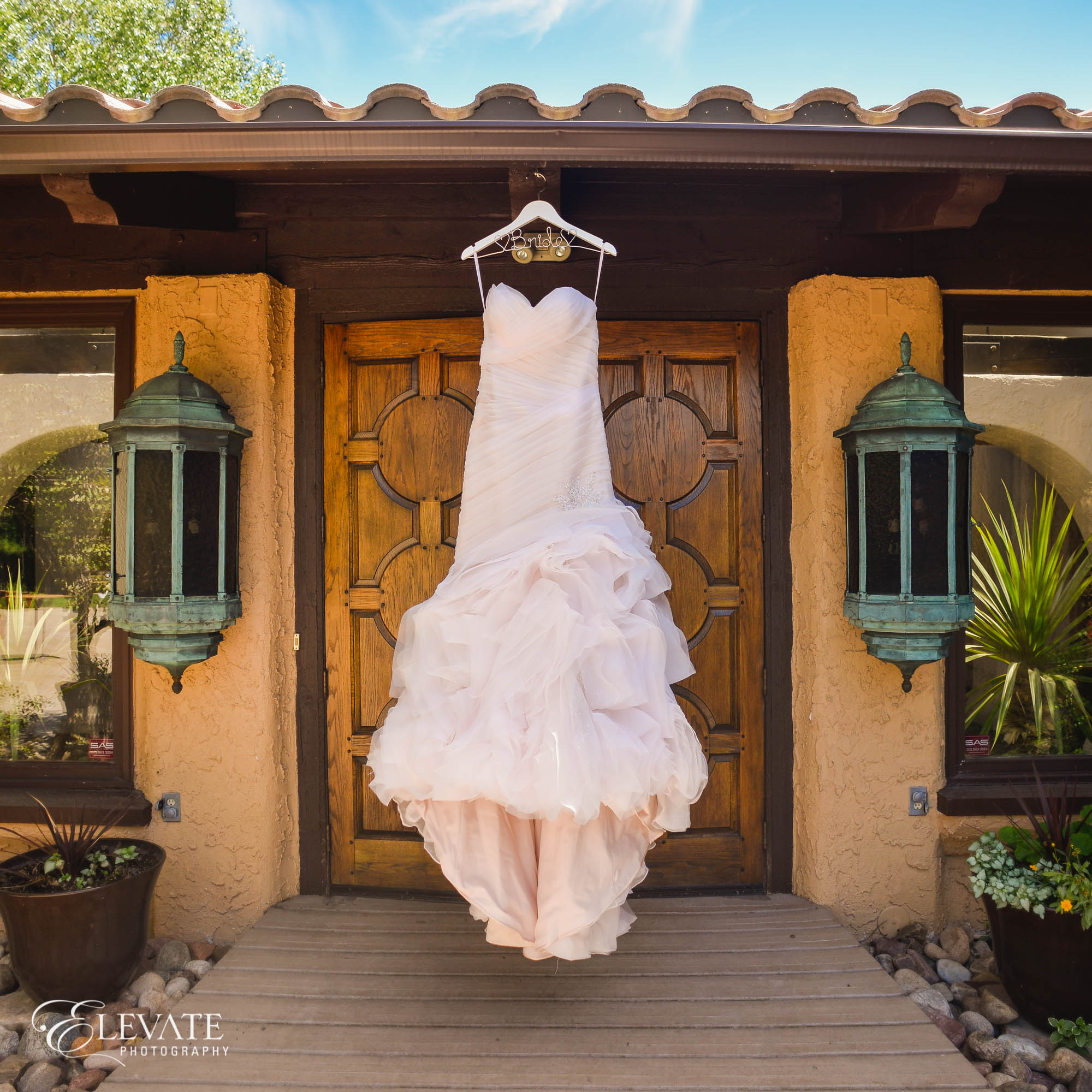 blush wedding dress with italian door
