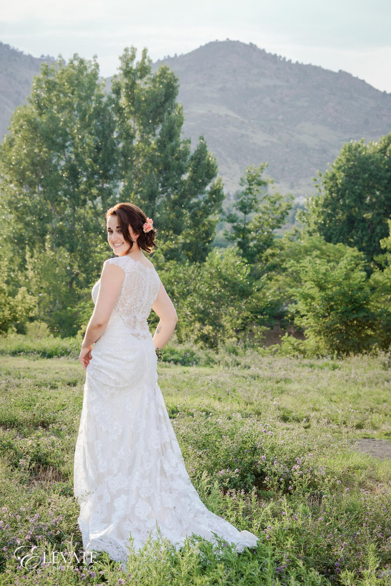 rustic bride in field