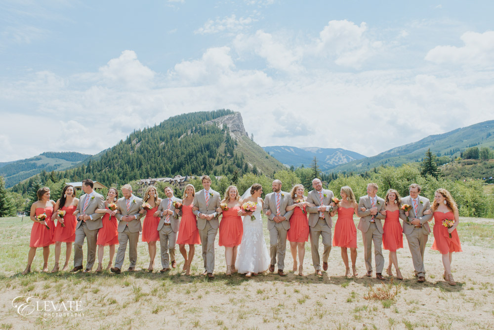 wedding party mountains