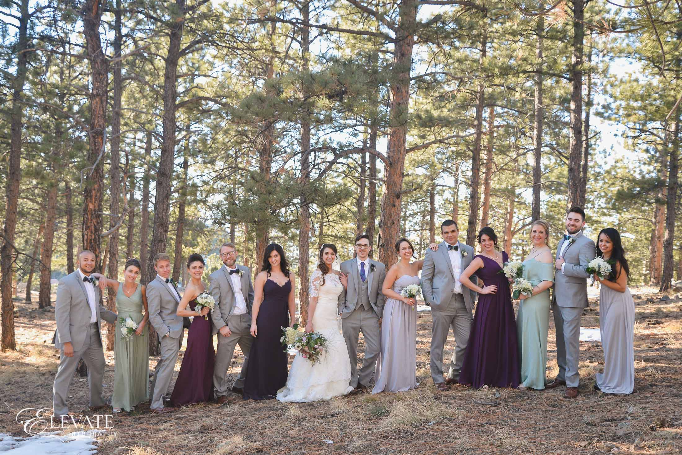 wedding party gray and purple in woods