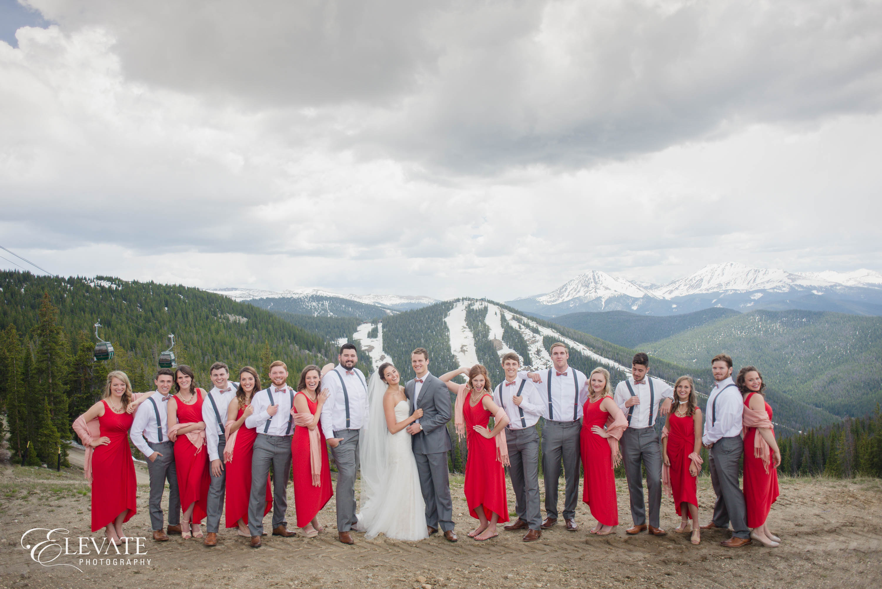 mountain wedding party