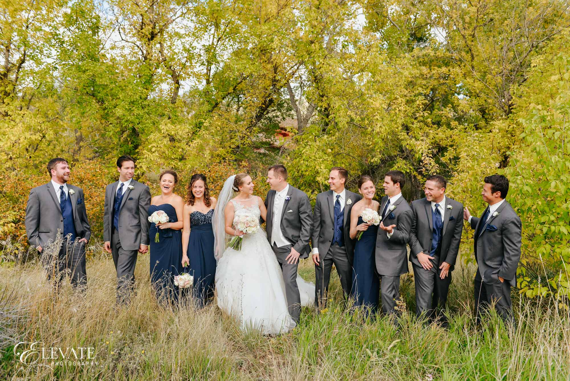 Wedding party fall colors
