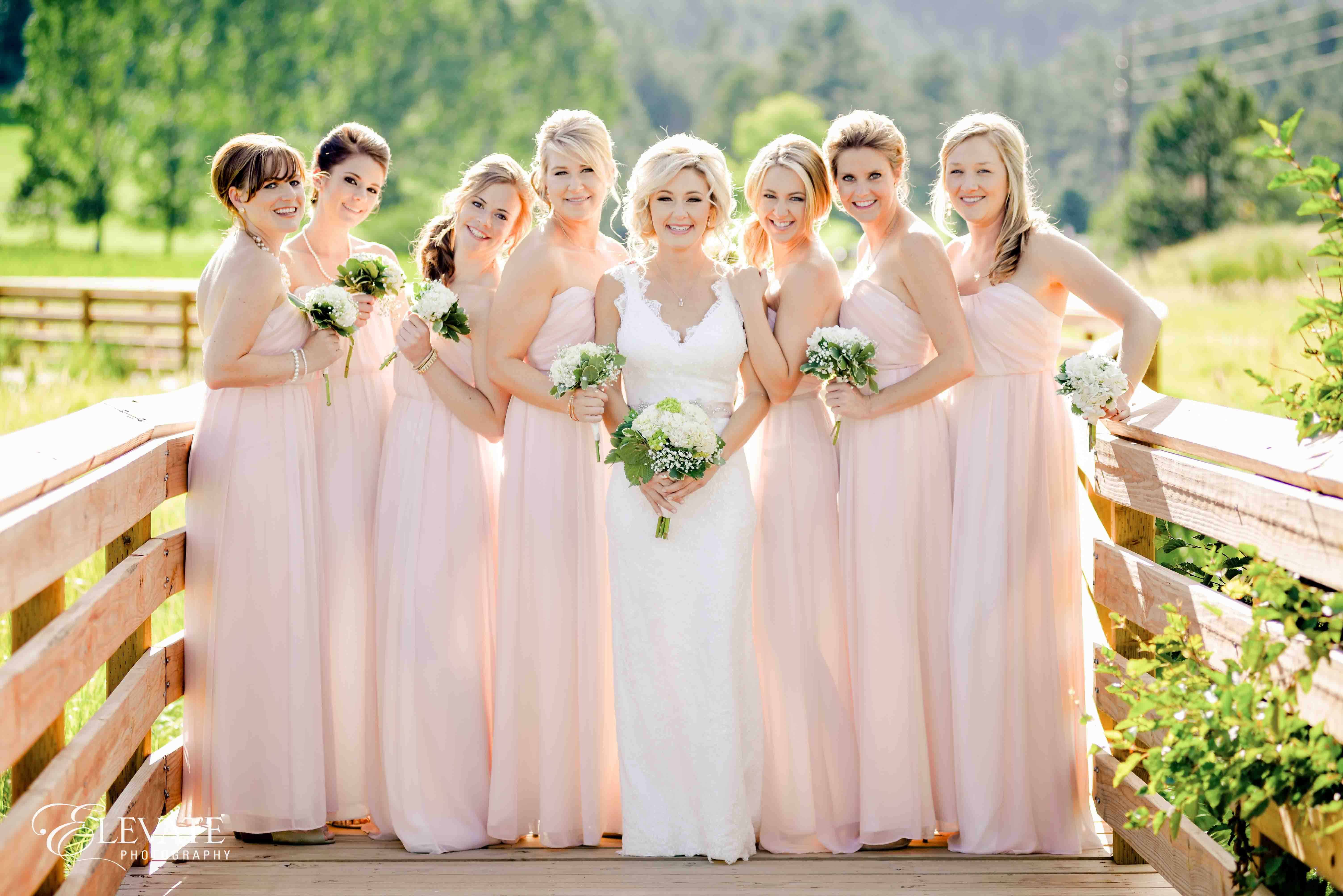 bridesmaids pink dresses