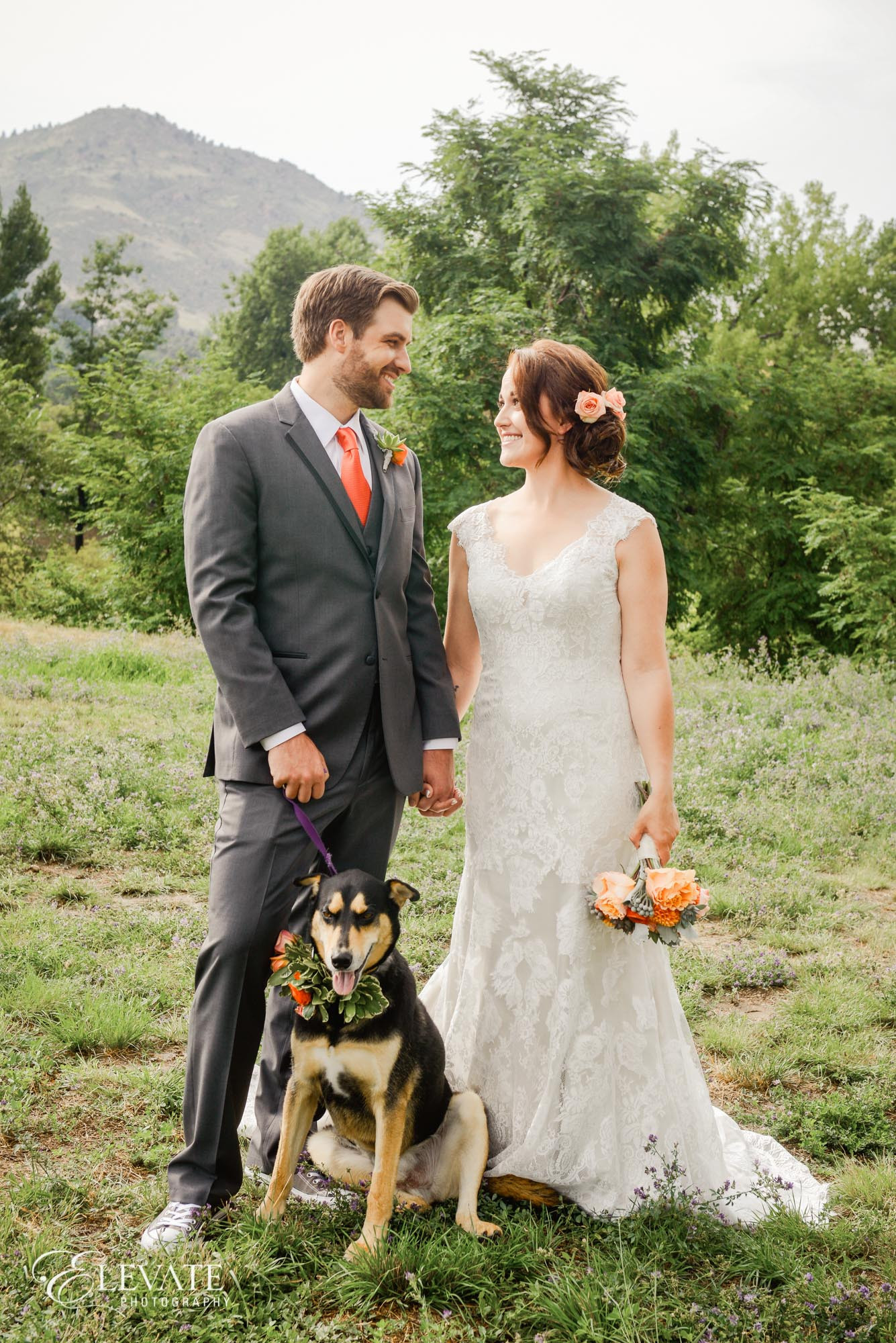 bride groom dog rustic
