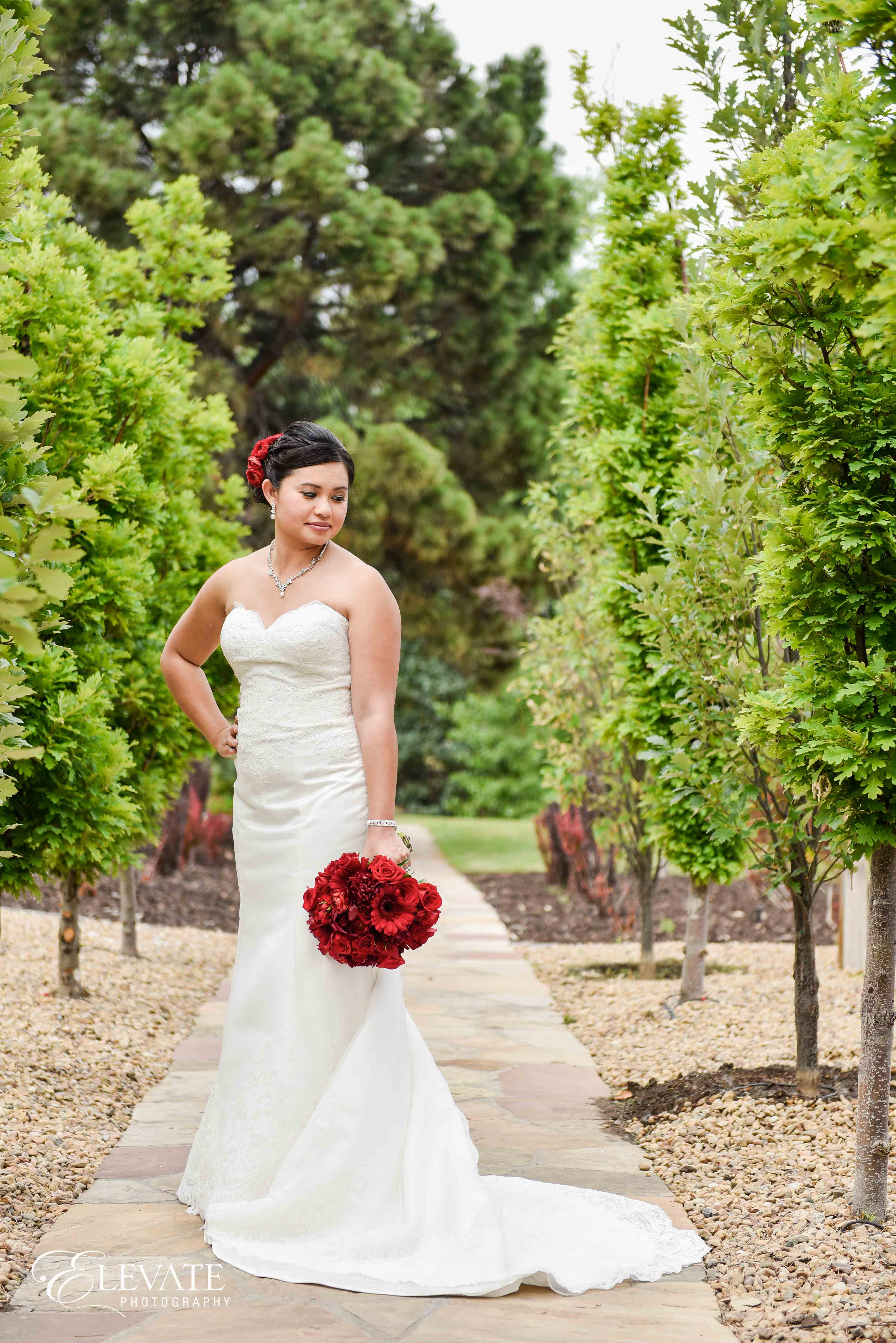 bride dress red roses