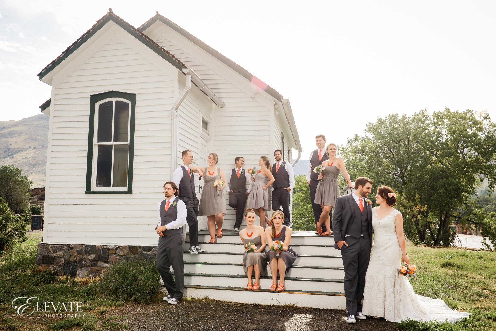 wedding party white school house