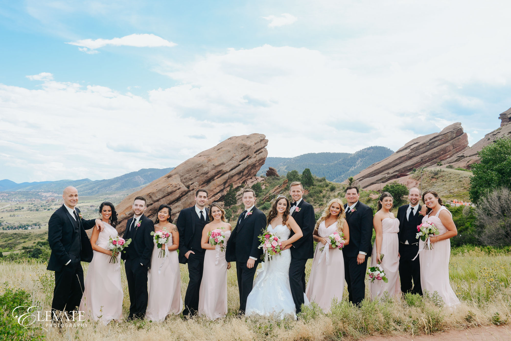 wedding party at red rocks