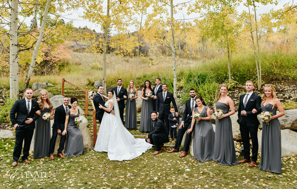 wedding party mountain fall