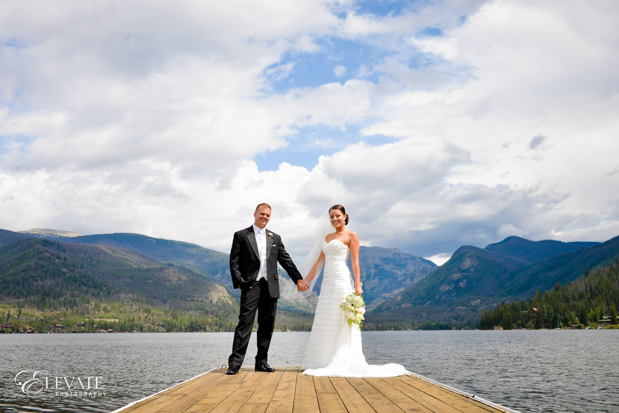 bride groom dock mountain lake