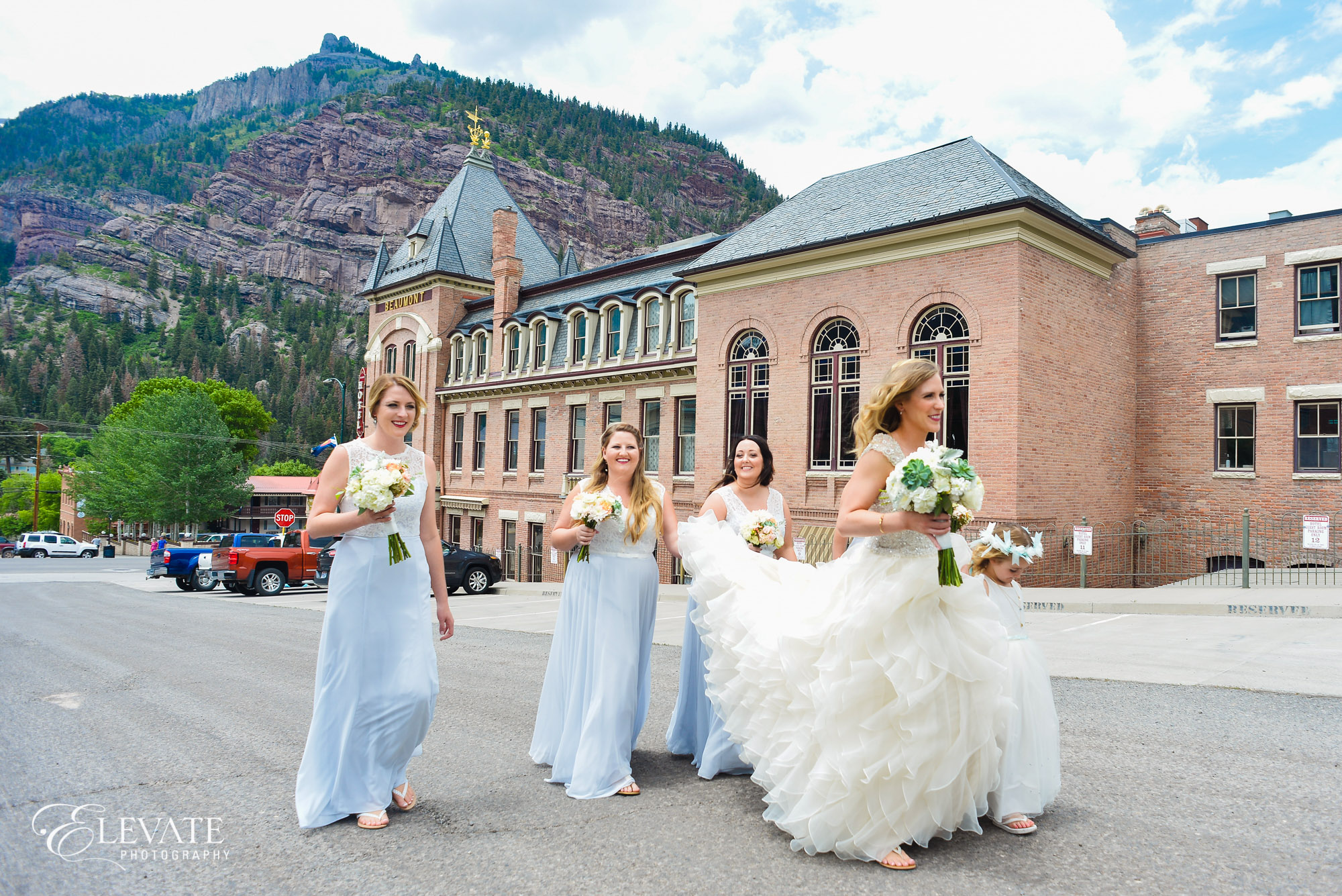 bridesmaids blue dresses telluride