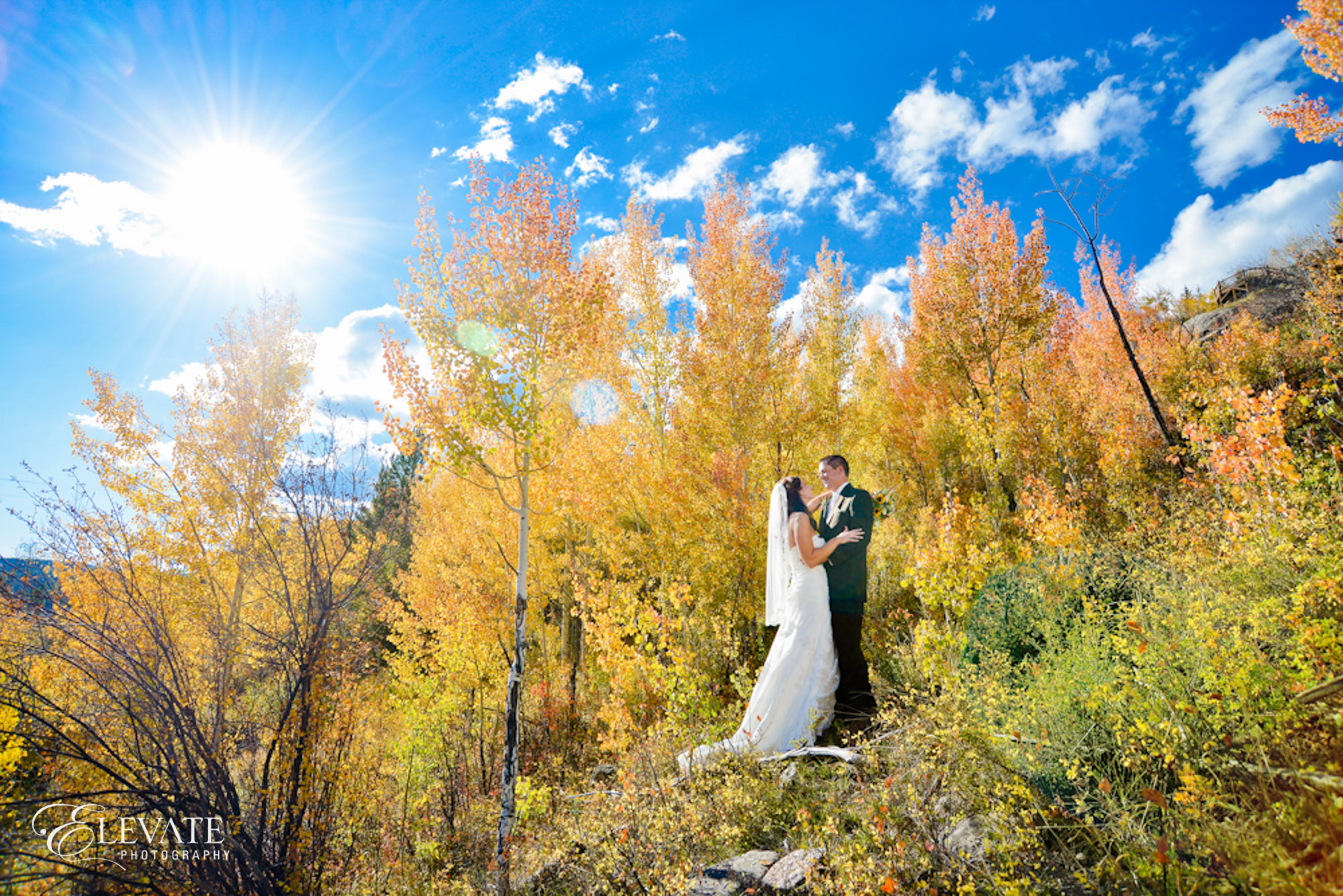 fall wedding bride groom aspen yellow