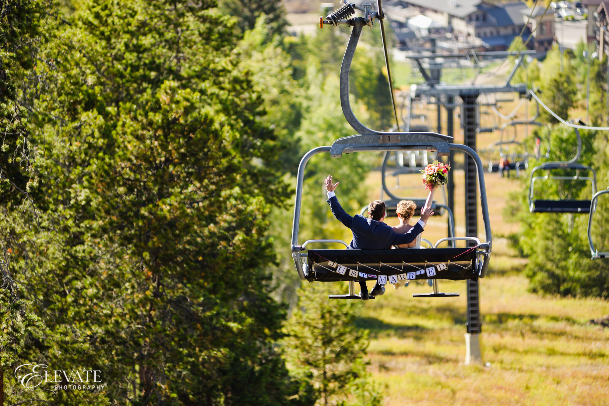 bride groom ski lift summer