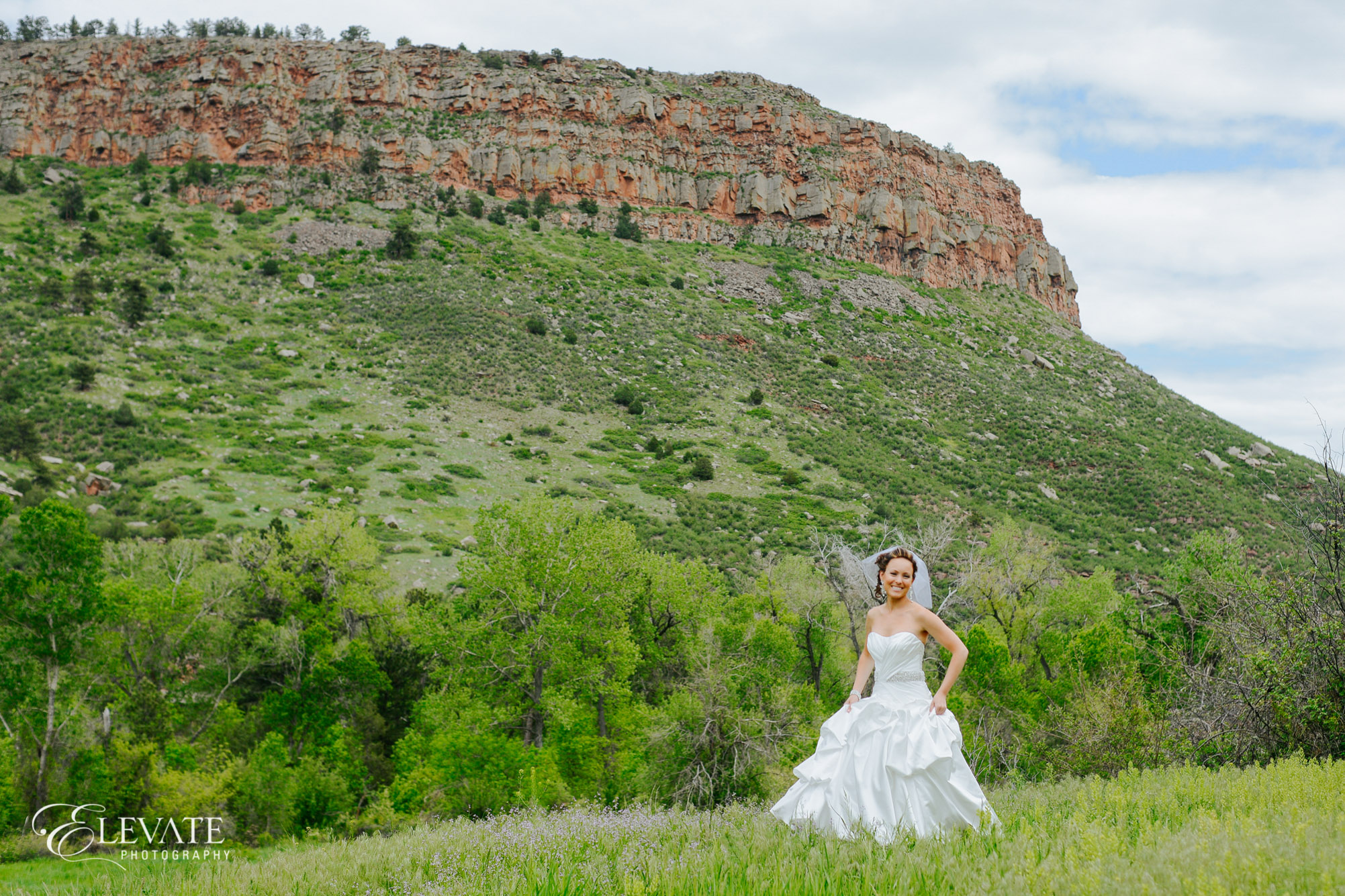 bride in mountains lyons