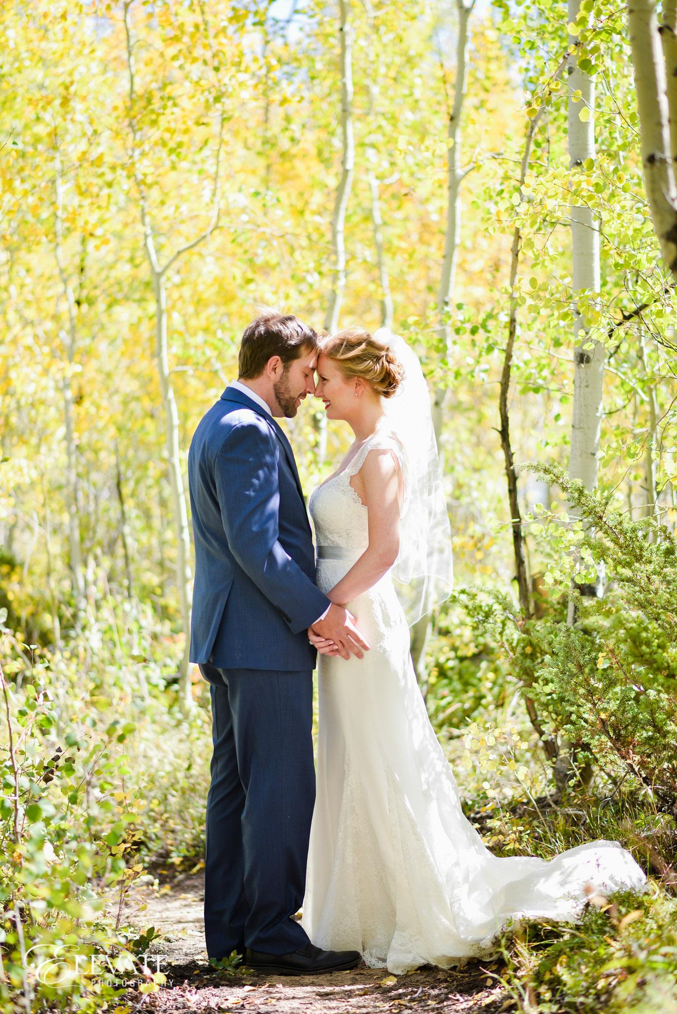 bride groom yellow aspen mountain wedding