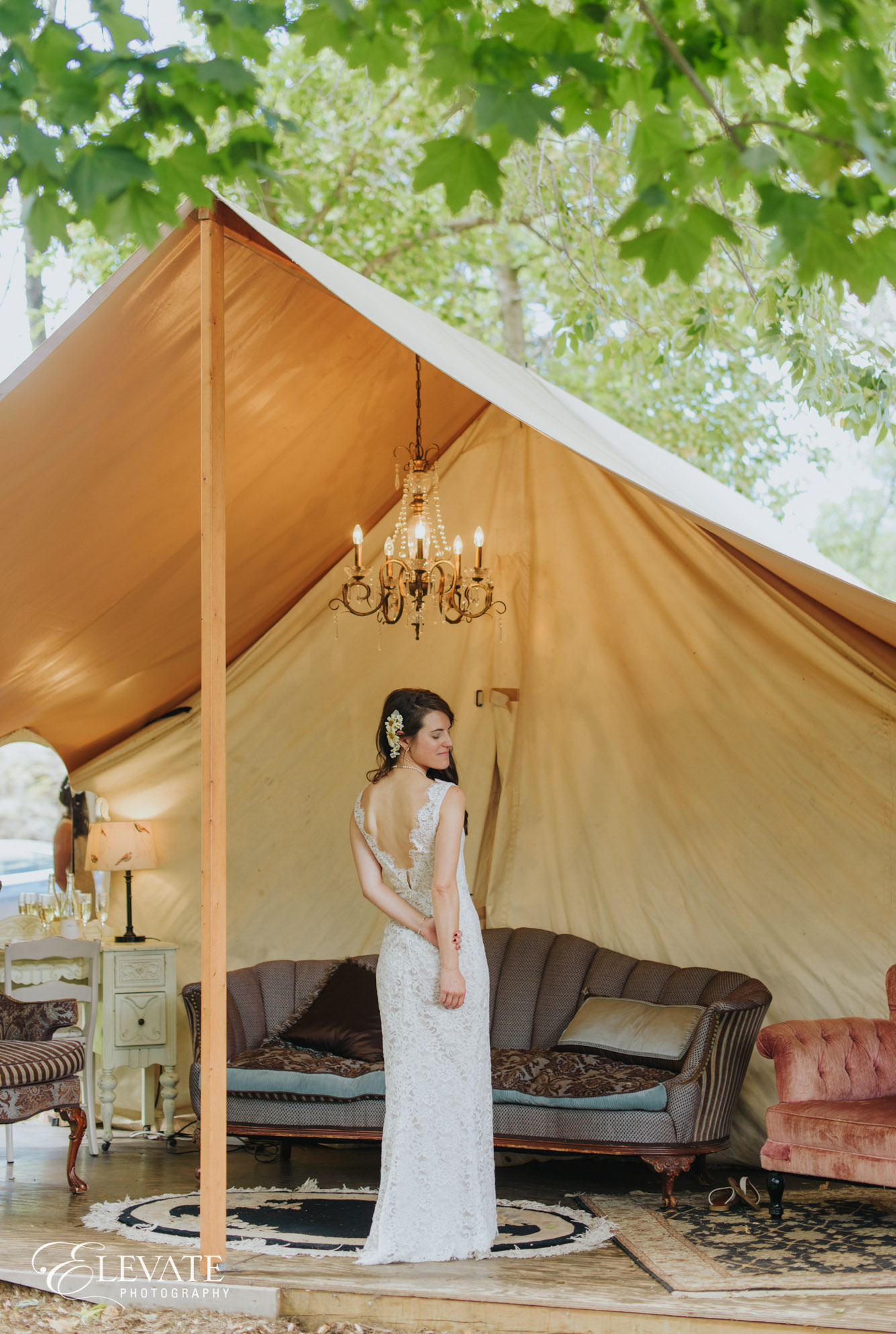 bride wedding dress boho chic tent