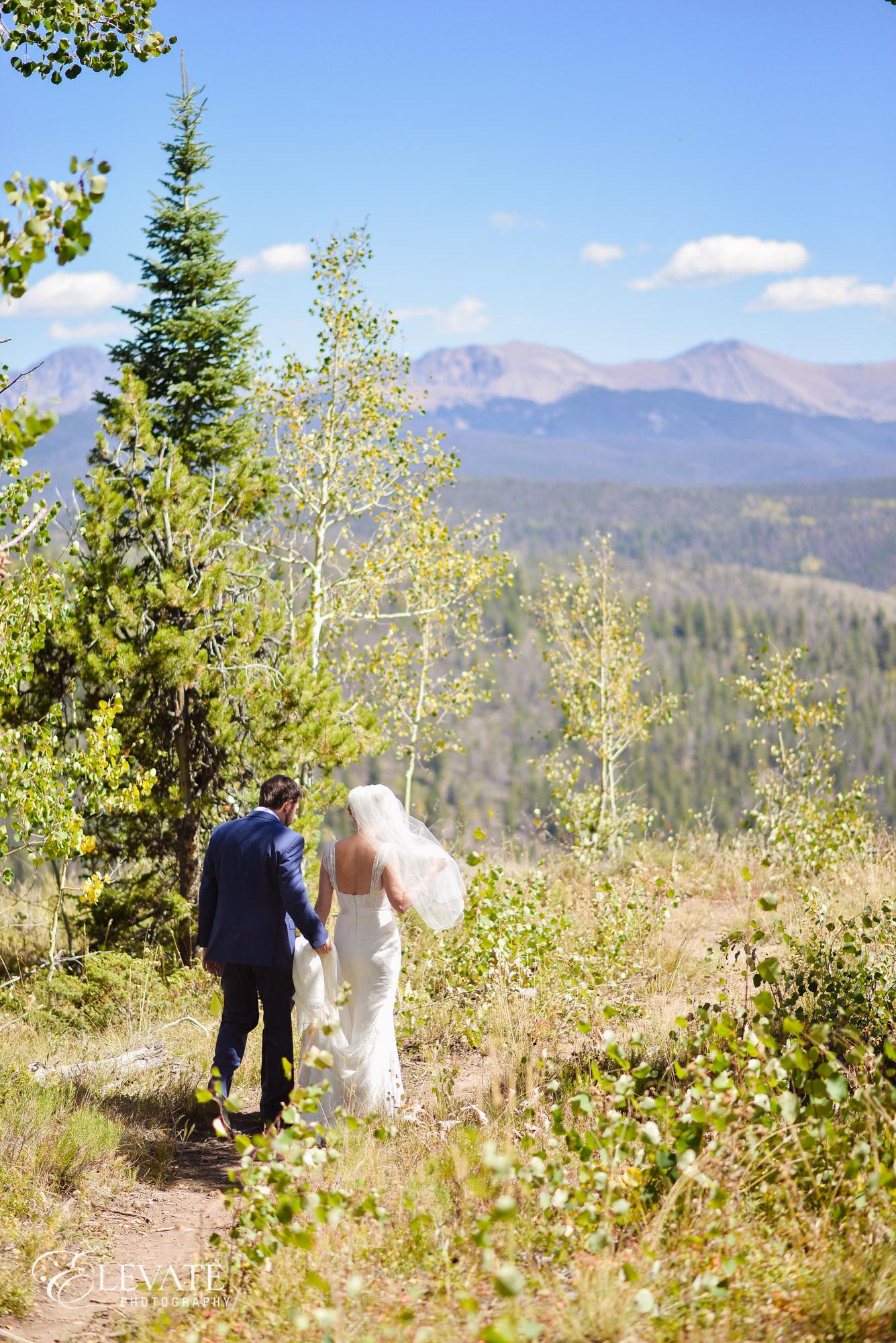 mountain wedding couple overlook
