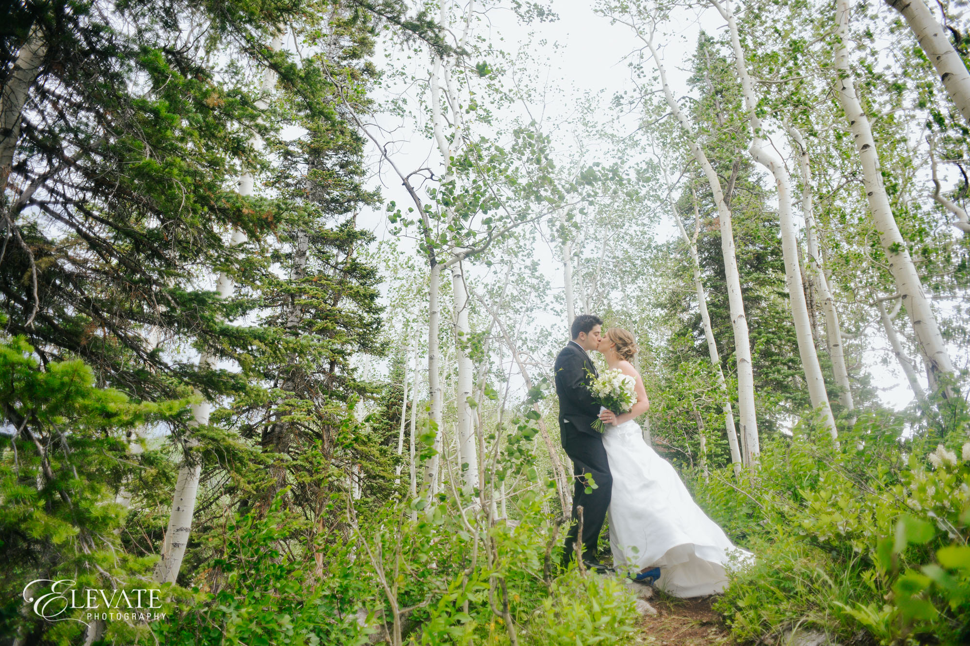 wedding couple woods steamboat springs