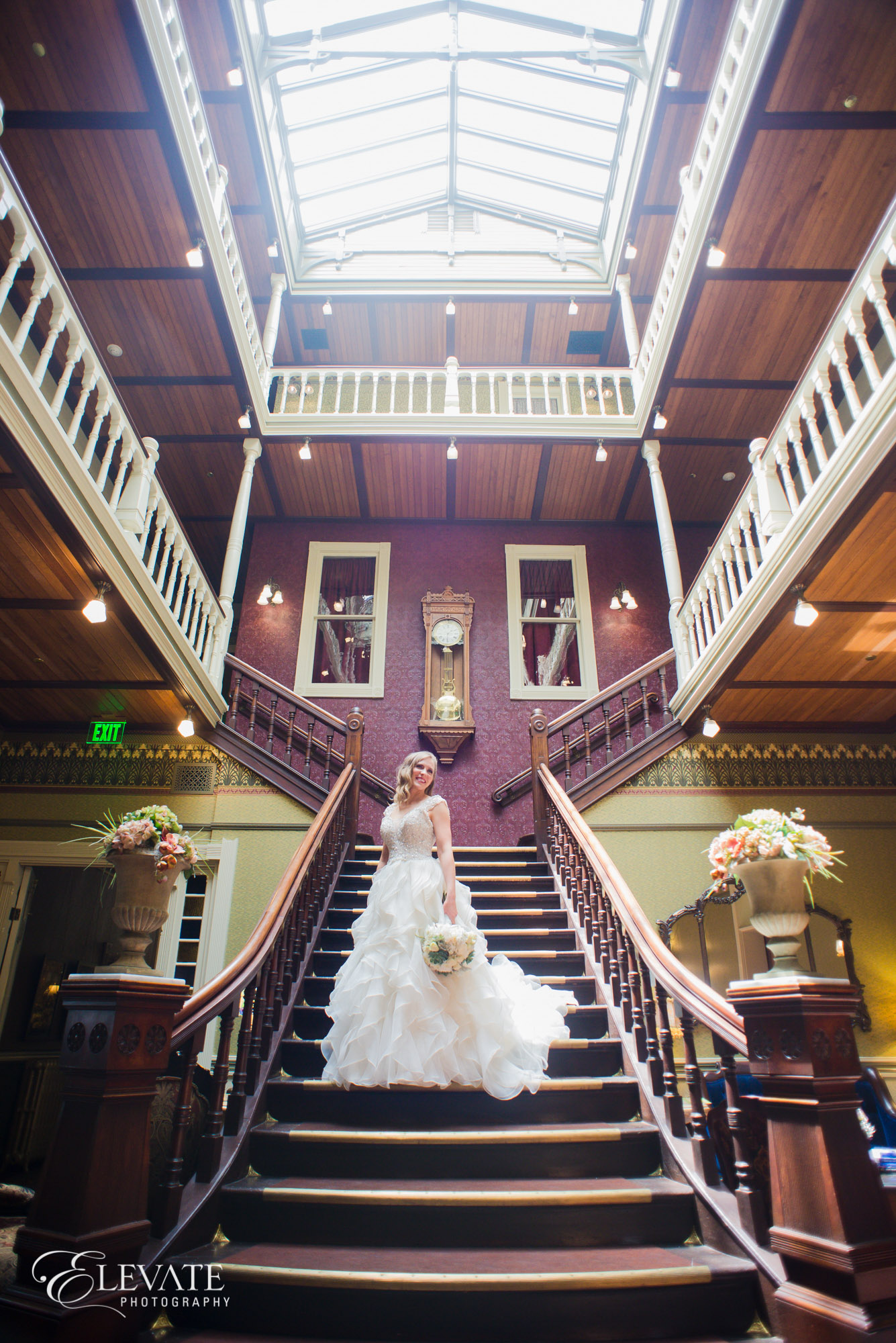 bride beaumont hotel staircase