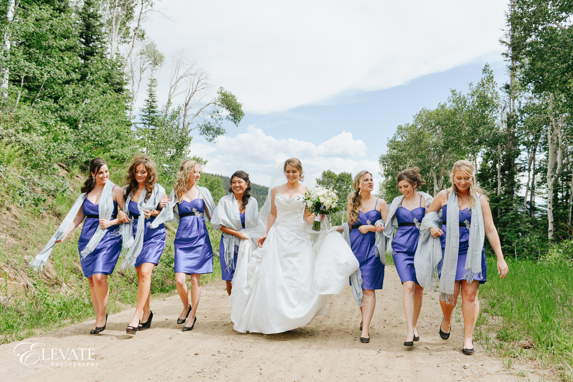 bridesmaids in blue dresses steamboat springs