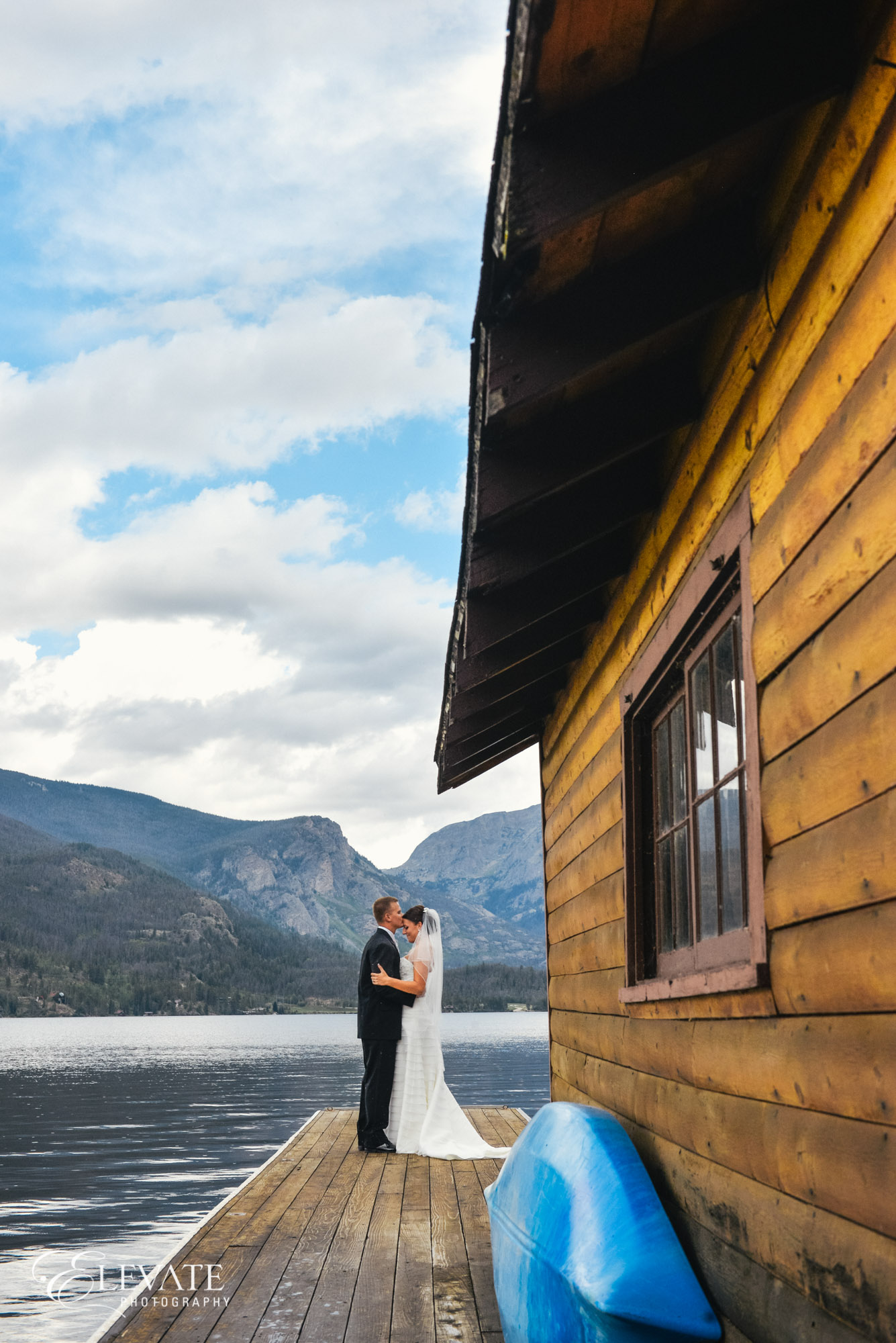 boat dock mountain wedding grand lake