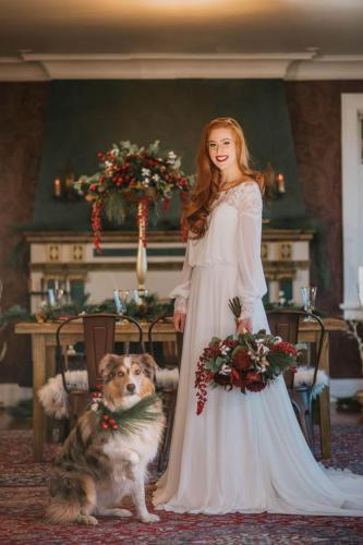 winter wedding bride and dog