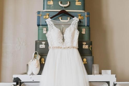 wedding dress and shoes suitcase