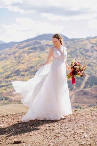 bride twirl dress mountain
