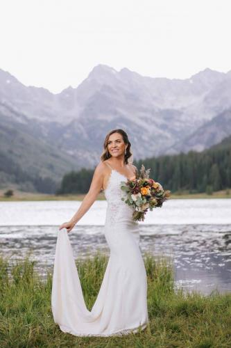 bride with dress piney river ranch