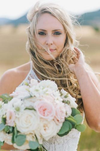 blonde bride with flowers