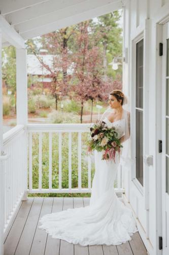 bride on porch
