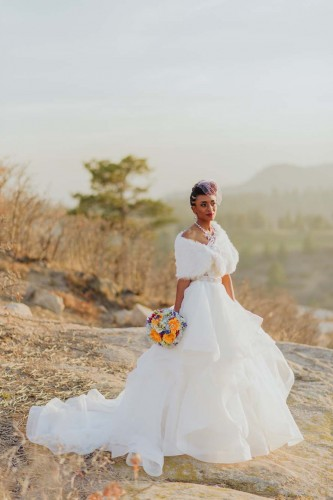 African american bride on mountain black
