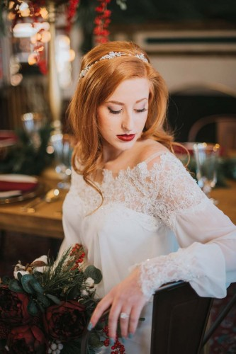 bride red hair and headband