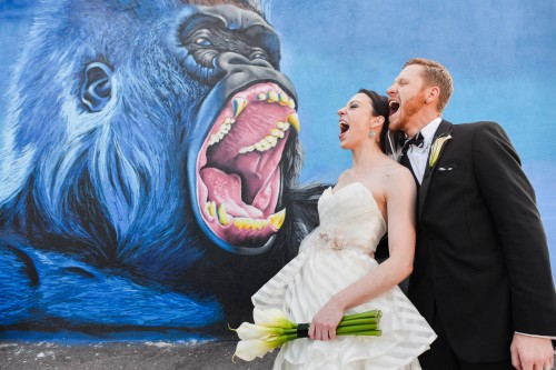 couple and gorilla mural