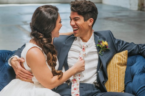 couple laughing floral tie