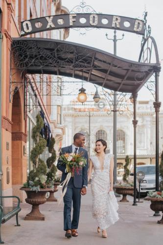 oxford hotel wedding couple by union station denver
