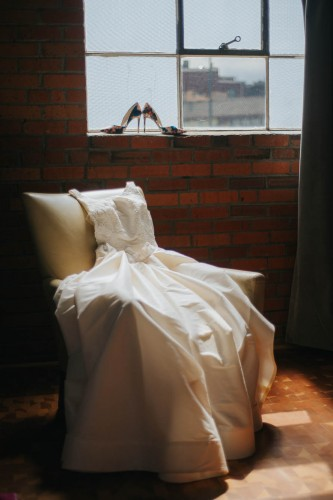 wedding gown with shoes