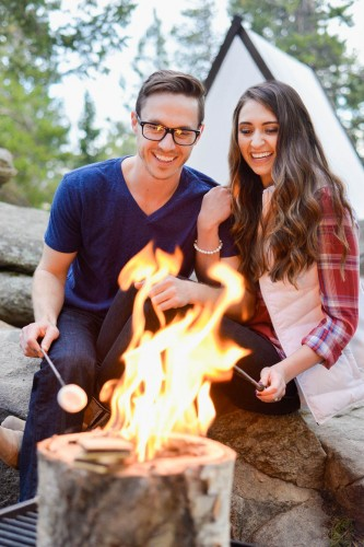 fire smores camping engagement