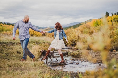 fall color mountain river engagement