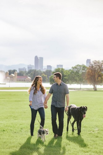 city park engagement with dogs
