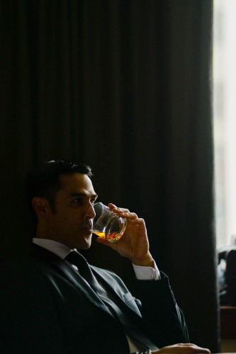groom with whiskey