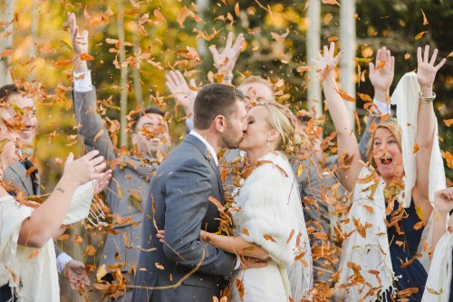 fall leaves wedding party