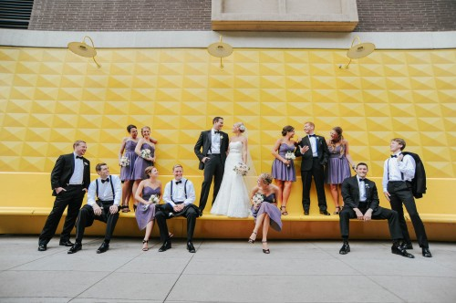 wedding party yellow wal purple dresses