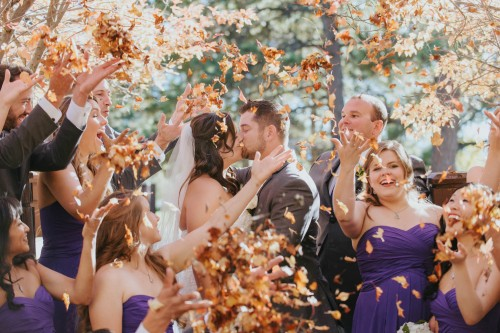 wedding party fall leaves